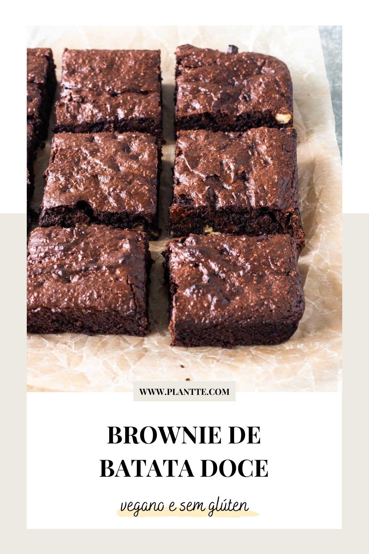 brownie de batata doce cortado em pedaços quadrados