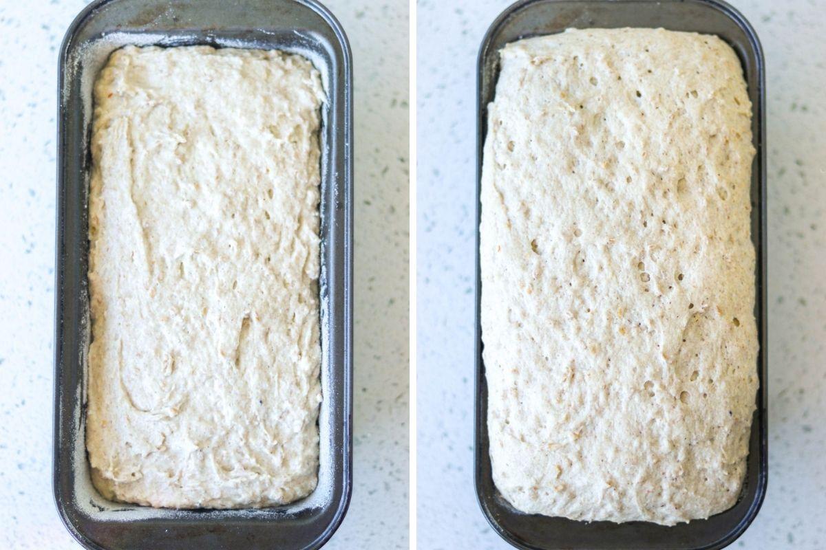 montagem com duas imagens mostrando a massa de pão antes e depois do tempo de fermentação